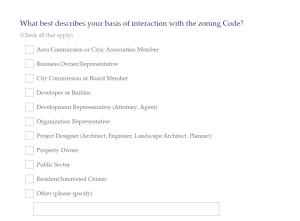 Columbus Zoning Code Survey